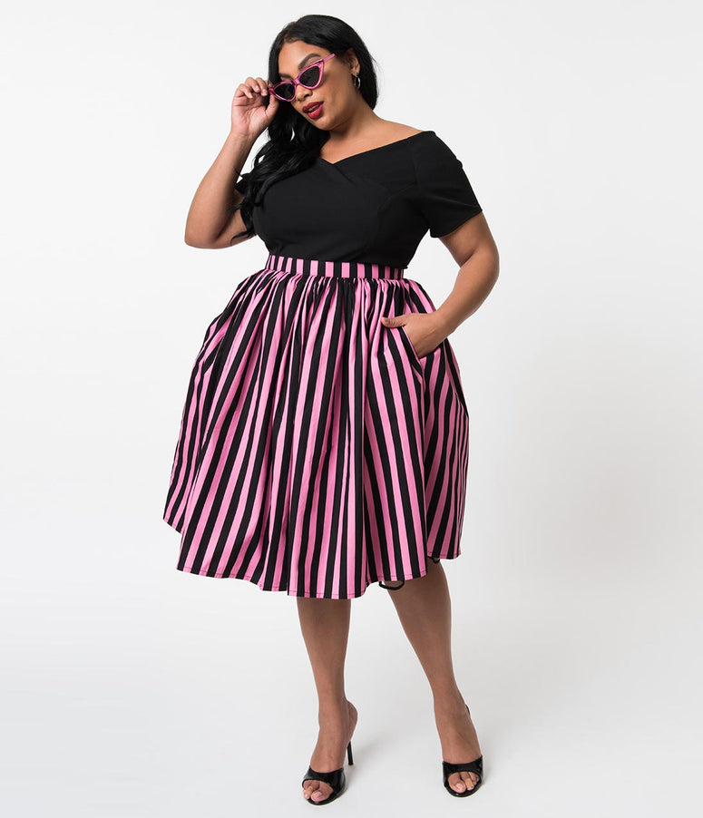 Plus Size Pink & Black Striped Gathered Cotton Swing Skirt
