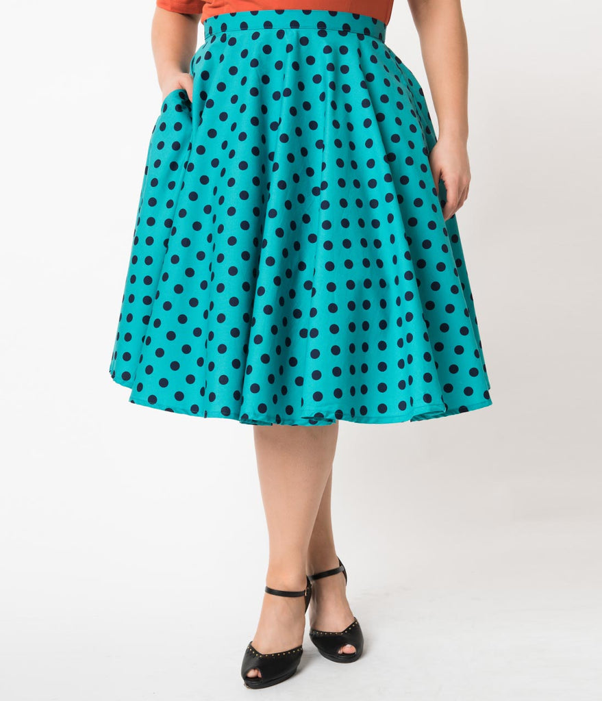 Plus Size Vintage Style Teal & Navy Polka Dot Cotton Circle Skirt