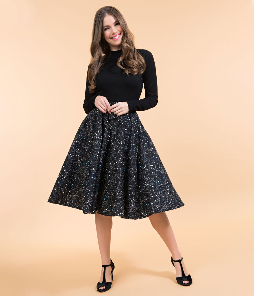 Vintage Style Black Galaxy Constellation Print Cotton Circle Skirt