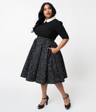 Plus Size Vintage Style Black Galaxy Constellation Print Cotton Circle Skirt