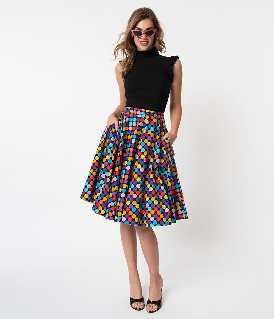 e5ff9caad89f5b Vintage Style Multicolor Polka Dot Memory Orbs Cotton Circle Skirt – Unique  Vintage