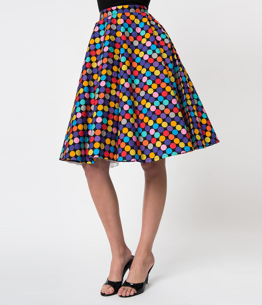 Vintage Style Multicolor Polka Dot Memory Orbs Cotton Circle Skirt