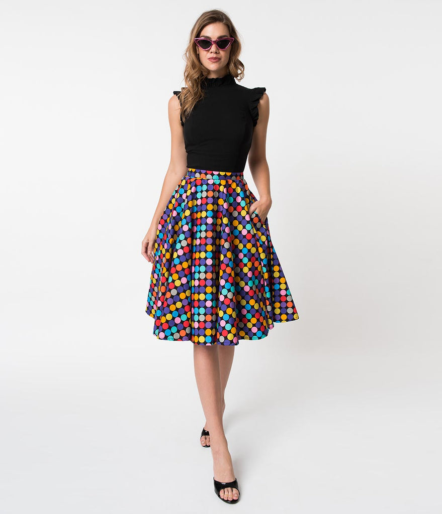 9d671ceb68e637 ... Vintage Style Multicolor Polka Dot Memory Orbs Cotton Circle Skirt