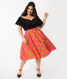 Plus Size Vintage Style Hot Pink & Chartreuse Green Polka Dot Cotton Swing Skirt