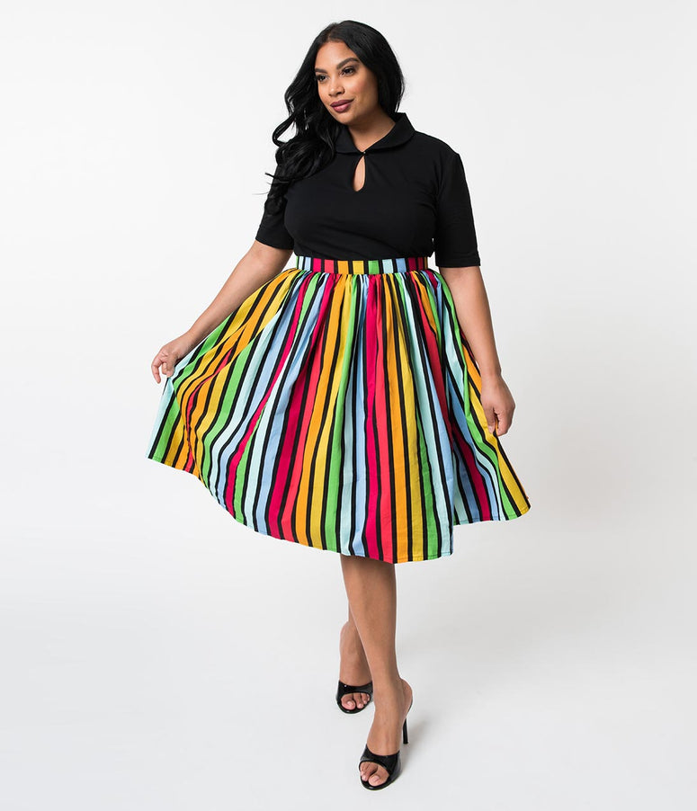 Plus Size Bold Rainbow Striped Gathered Cotton Swing Skirt
