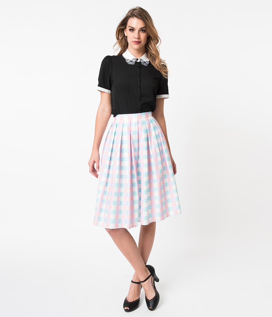 Vintage Style Blue & Pink Gingham Pin Dot Pleated Swing Skirt