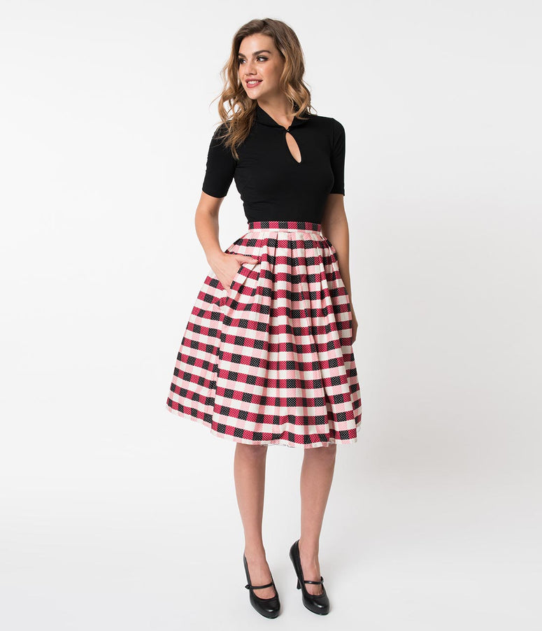 Vintage Style Black & Red Gingham Pin Dot Pleated Swing Skirt