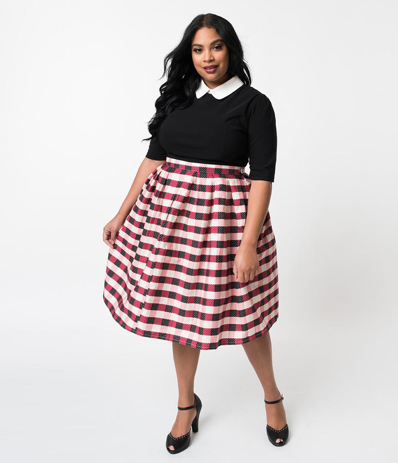 Plus Size Vintage Style Black & Red Gingham Pin Dot Pleated Swing Skirt