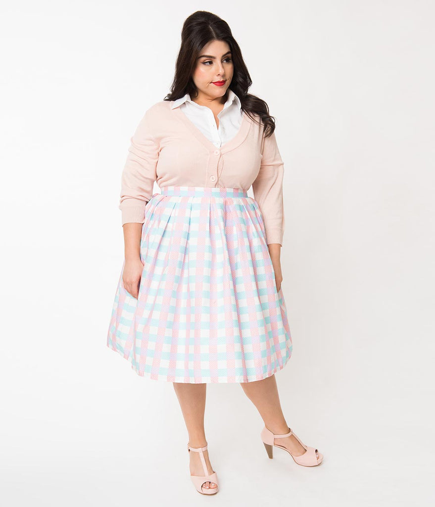 Vintage Style Plus Size Blue & Pink Gingham Pin Dot Pleated Swing Skirt