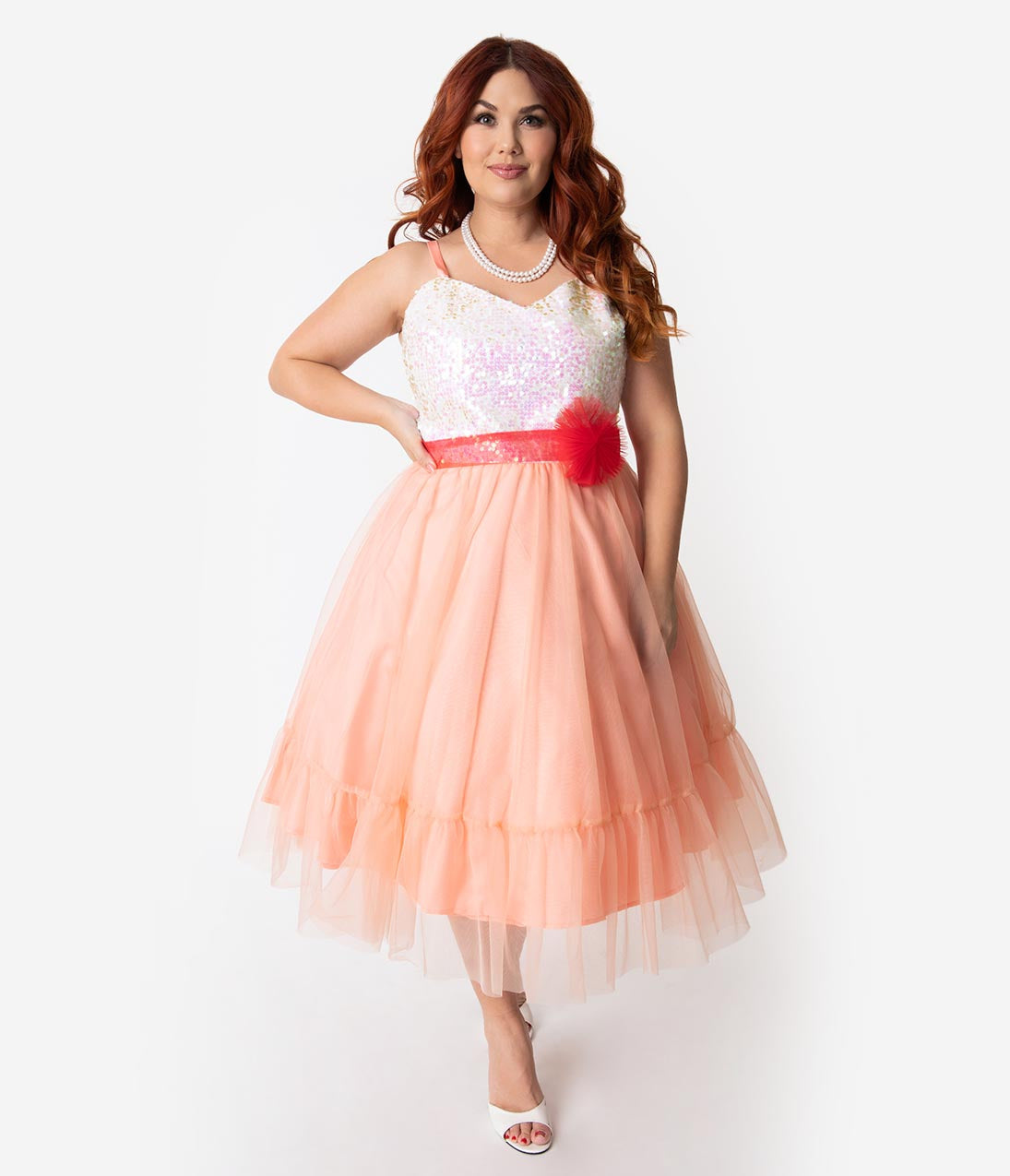 995b89f0de083 Barbie x Unique Vintage Plus Size Peaches N Cream Chiffon Dress