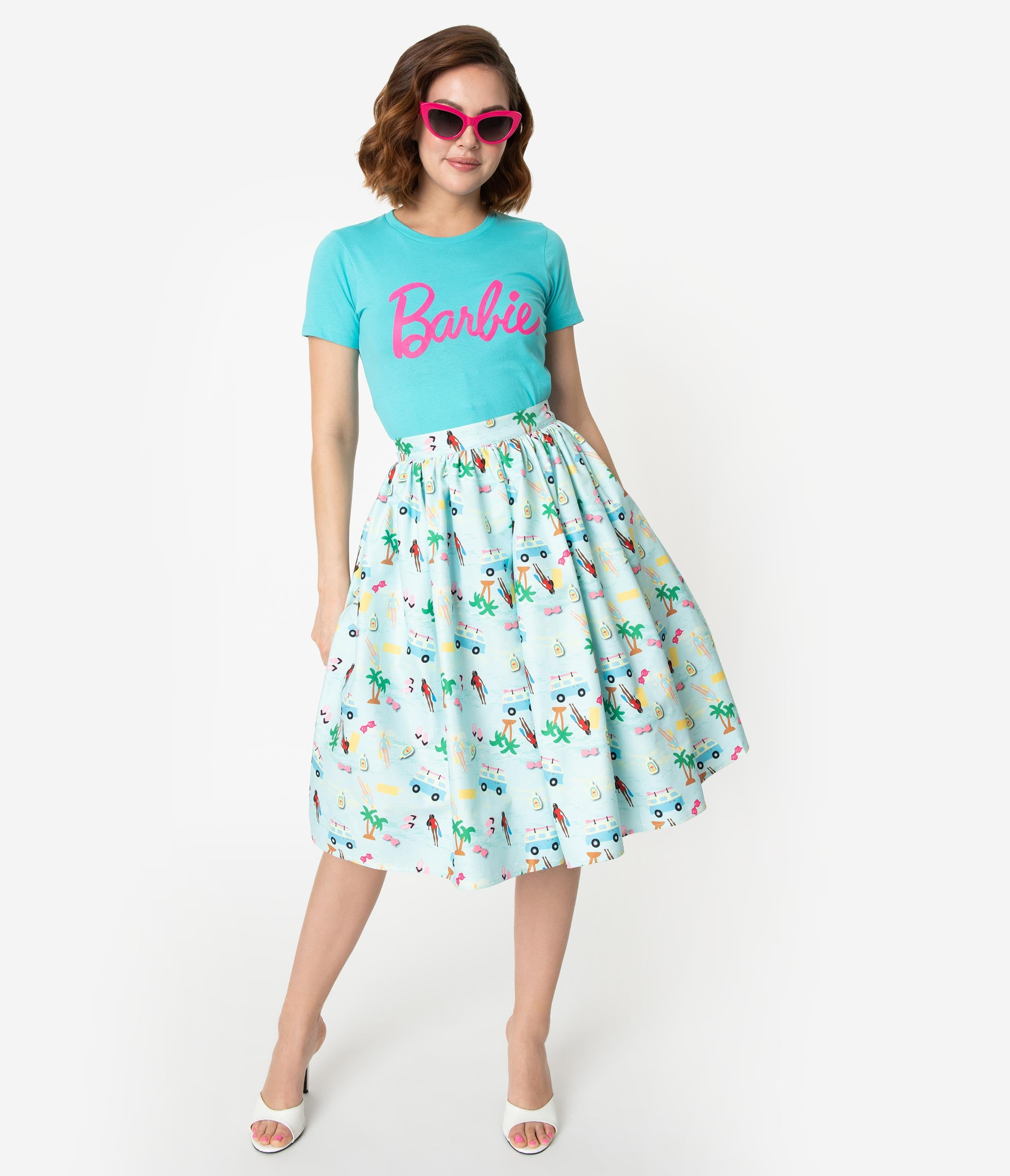 cd9c23666b7 Barbie x Unique Vintage Light Blue Barbie Vacation Adventure Swing Skirt