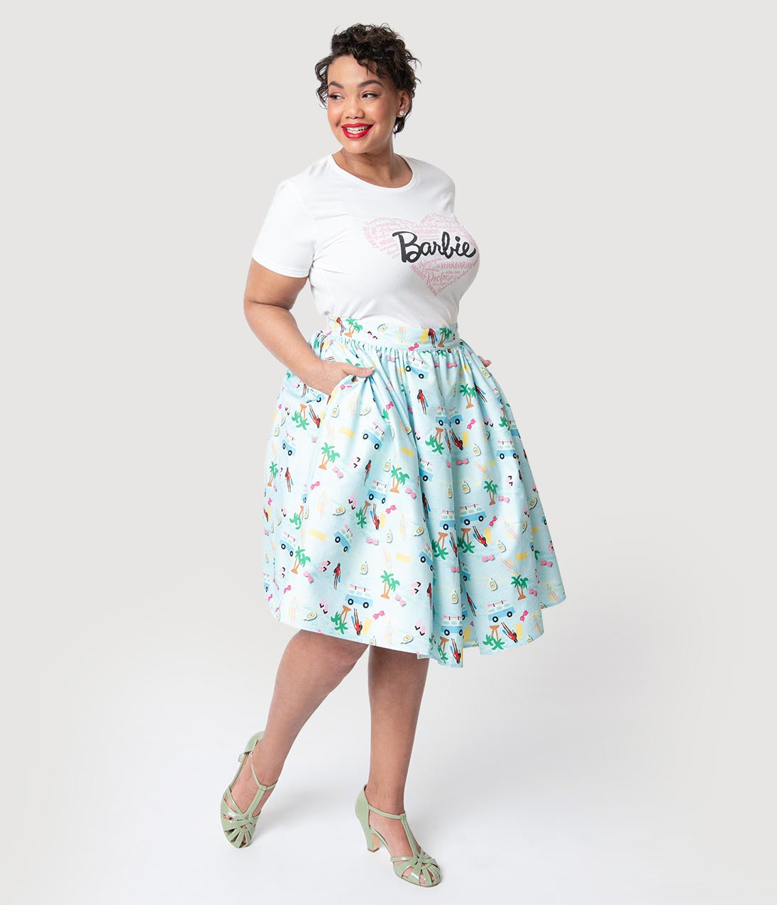 092c478d6f2a Barbie x Unique Vintage Plus Size Light Blue Barbie Vacation Adventure  Swing Skirt