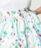 Barbie x Unique Vintage Plus Size Light Blue Barbie Vacation Adventure Swing Skirt