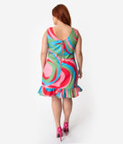 Barbie x Unique Vintage Plus Size 1960s Style Swirly Cue Shift Dress