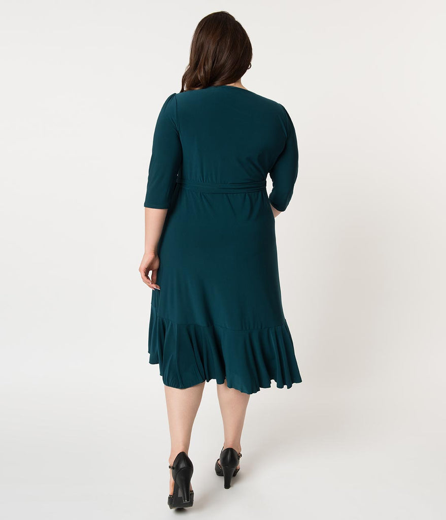 Plus Size Hunter Green Three-Quarter Sleeved Whimsy Wrap Dress
