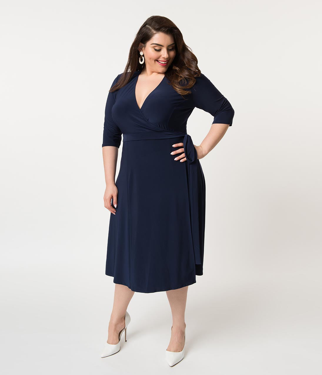 1940s Dresses | 40s Dress, Swing Dress Retro Style Plus Size Navy Blue Sleeved Essential Wrap Dress $88.00 AT vintagedancer.com
