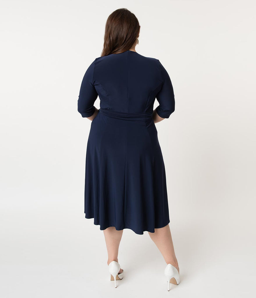 Retro Style Plus Size Navy Blue Sleeved Essential Wrap Dress