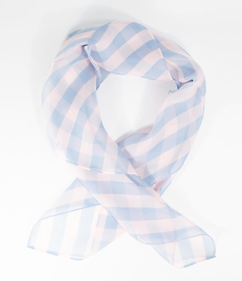 Unique Vintage Pin-Up Light Pink & Light Blue Striped Chiffon Hair Scarf