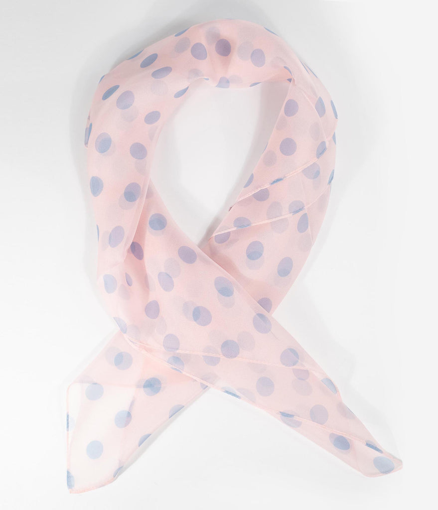 Unique Vintage Pin-Up Light Pink & Light Blue Polka Dot Chiffon Hair Scarf
