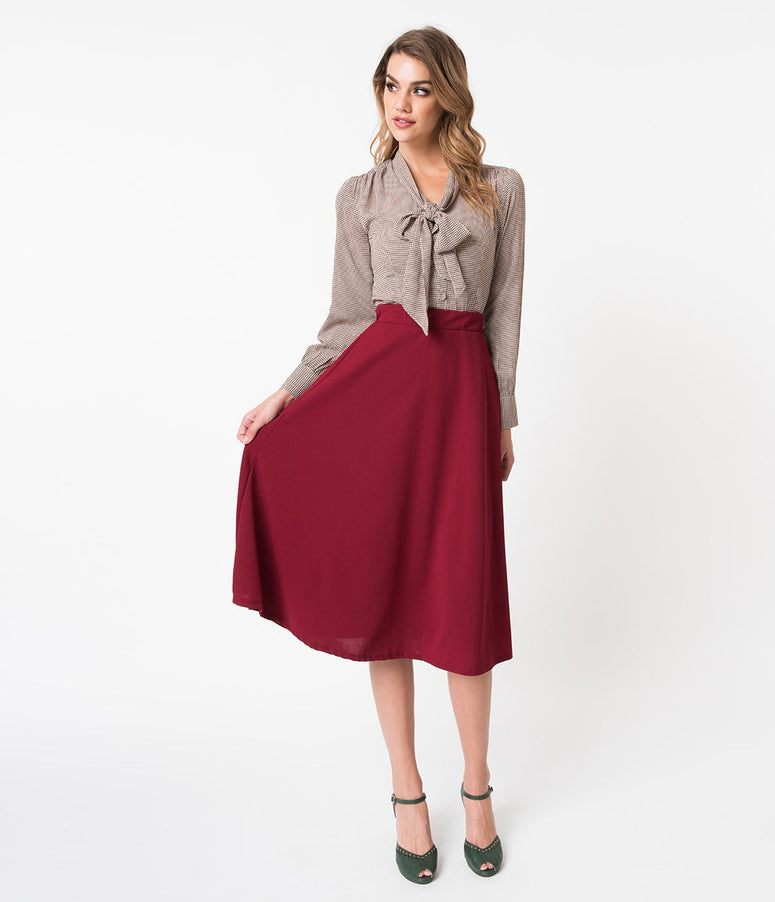 1940s Style Burgundy Red Crepe High Waist Flare Skirt