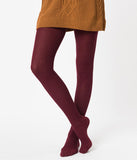Burgundy Red Cotton Knit Ribbed Tights