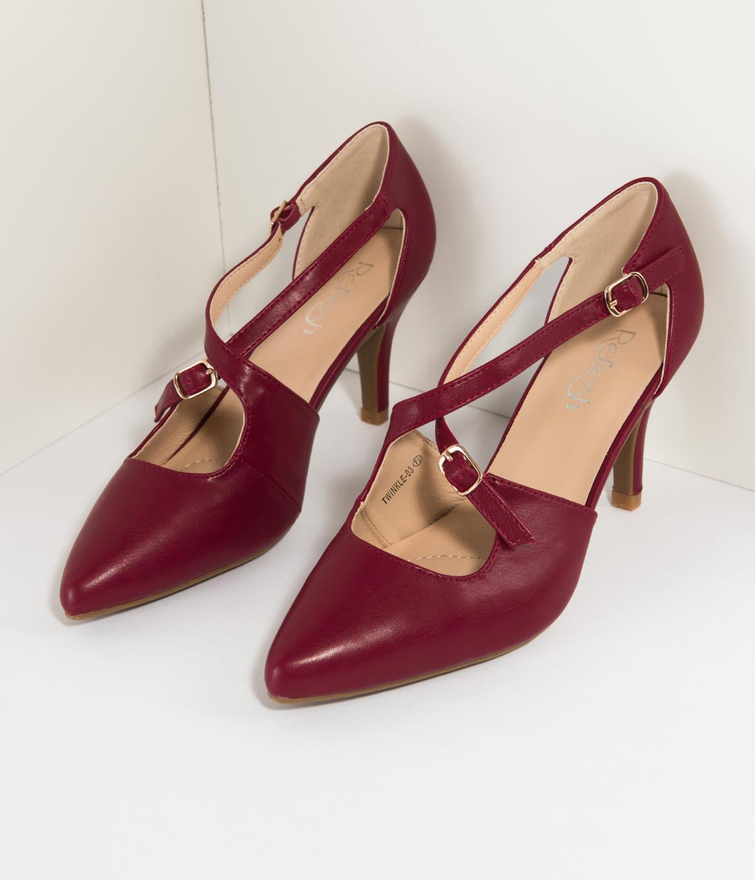 1950s Style Shoes | Heels, Flats, Saddle Shoes Wine Red Leatherette Cross Strap Pointed Toe Pumps $35.00 AT vintagedancer.com