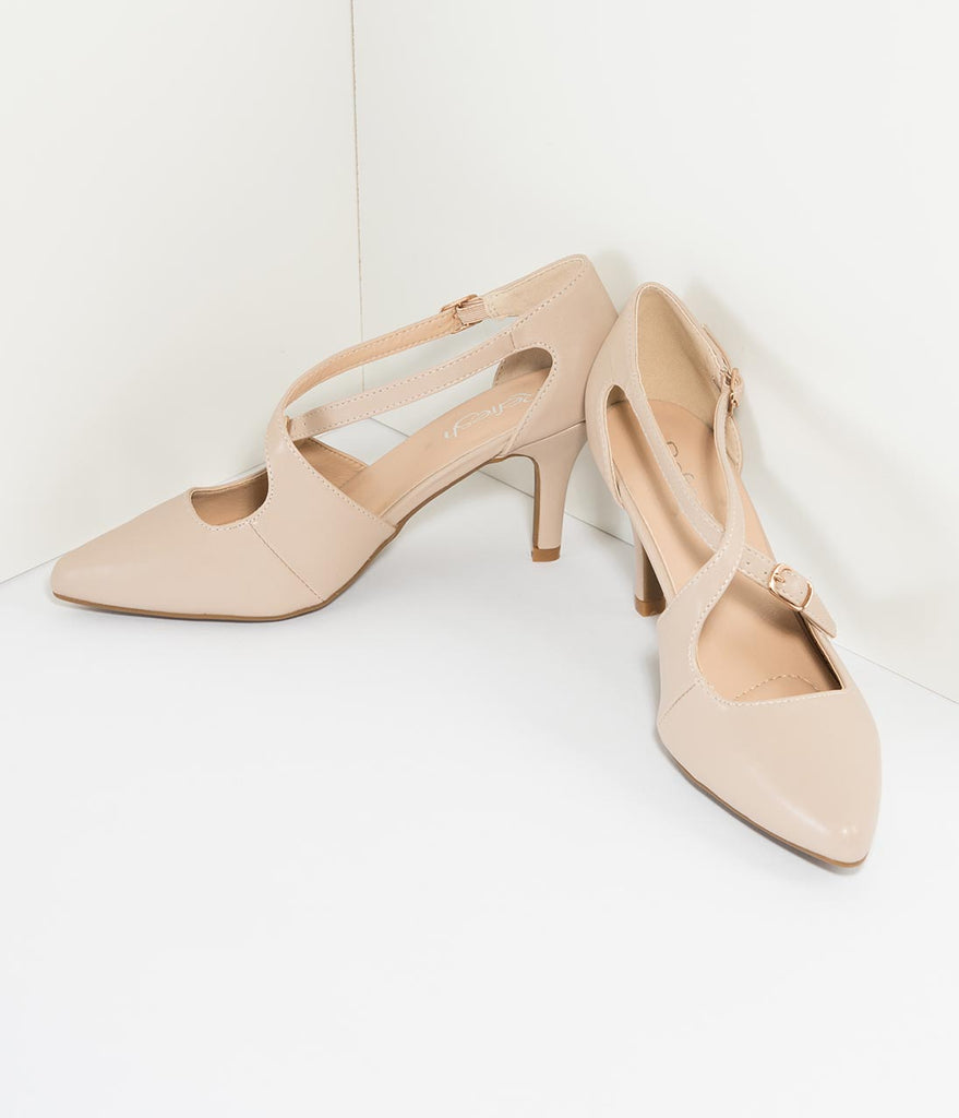 Beige Leatherette Cross Strap Pointed Toe Pumps