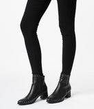 Black Leatherette & Silver Studded Boots
