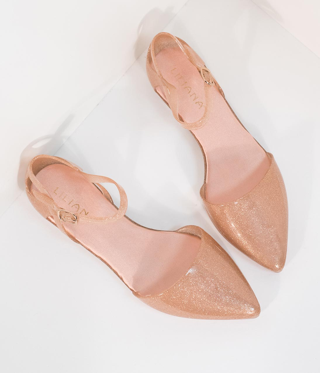 87b80ce98 Champagne Sparkle Jelly Pointed Toe d Orsay Flat