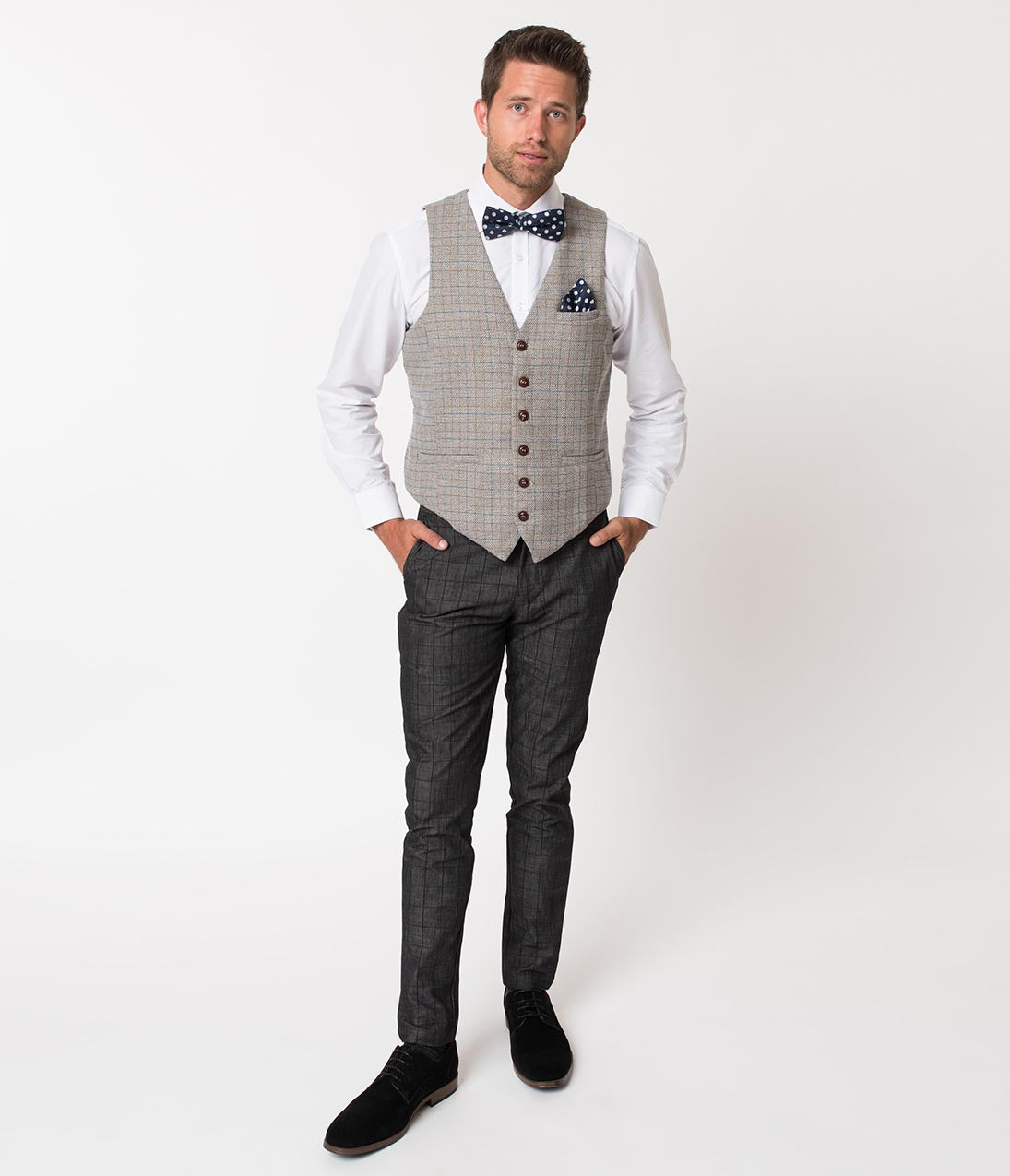 Men's Vintage Pants, Trousers, Jeans, Overalls Grey Window Pane Checkered Cotton Mens Pant $58.00 AT vintagedancer.com