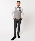 Grey Window Pane Checkered Cotton Mens Pant