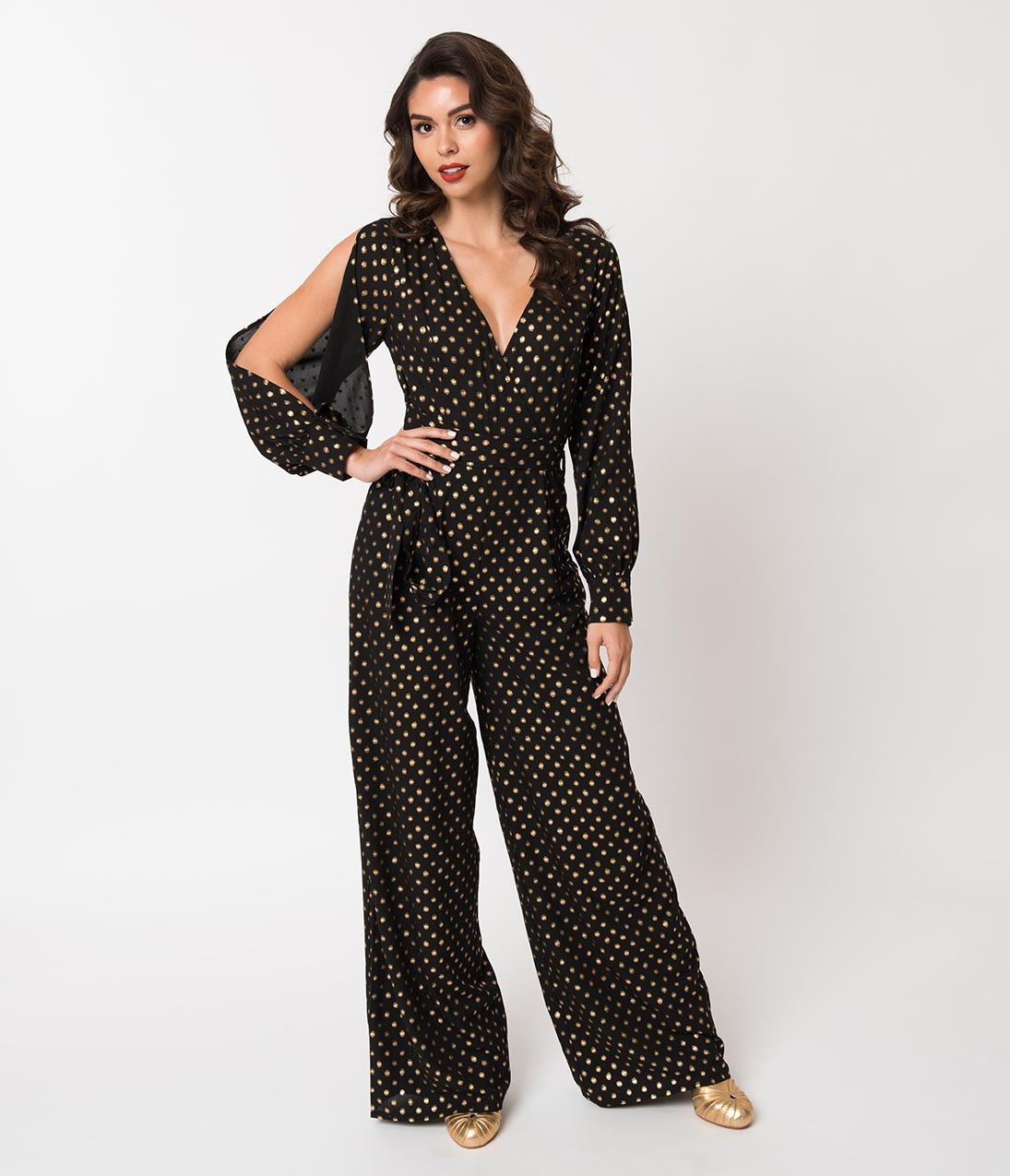 60s – 70s Pants, Jeans, Hippie, Bell Bottoms, Jumpsuits 1970S Style Black  Gold Polka Dot Long Sleeve Jumpsuit $51.00 AT vintagedancer.com
