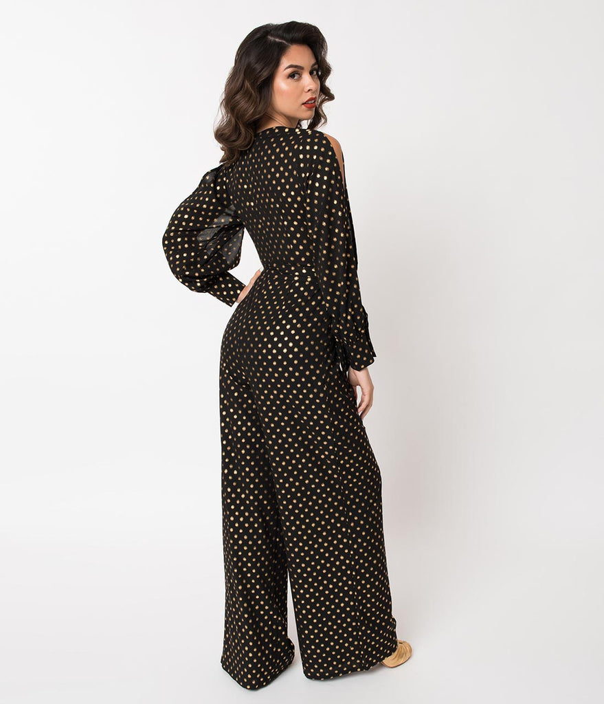 1970s Style Black & Gold Polka Dot Long Sleeve Jumpsuit ...