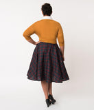 Plus Size Vintage Style Navy, Emerald, & Red Plaid Cotton Circle Swing Skirt