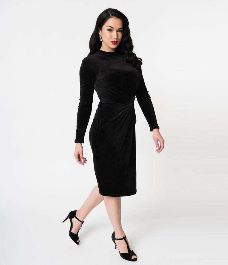 Black Velvet Long Sleeve Knotted Wiggle Dress