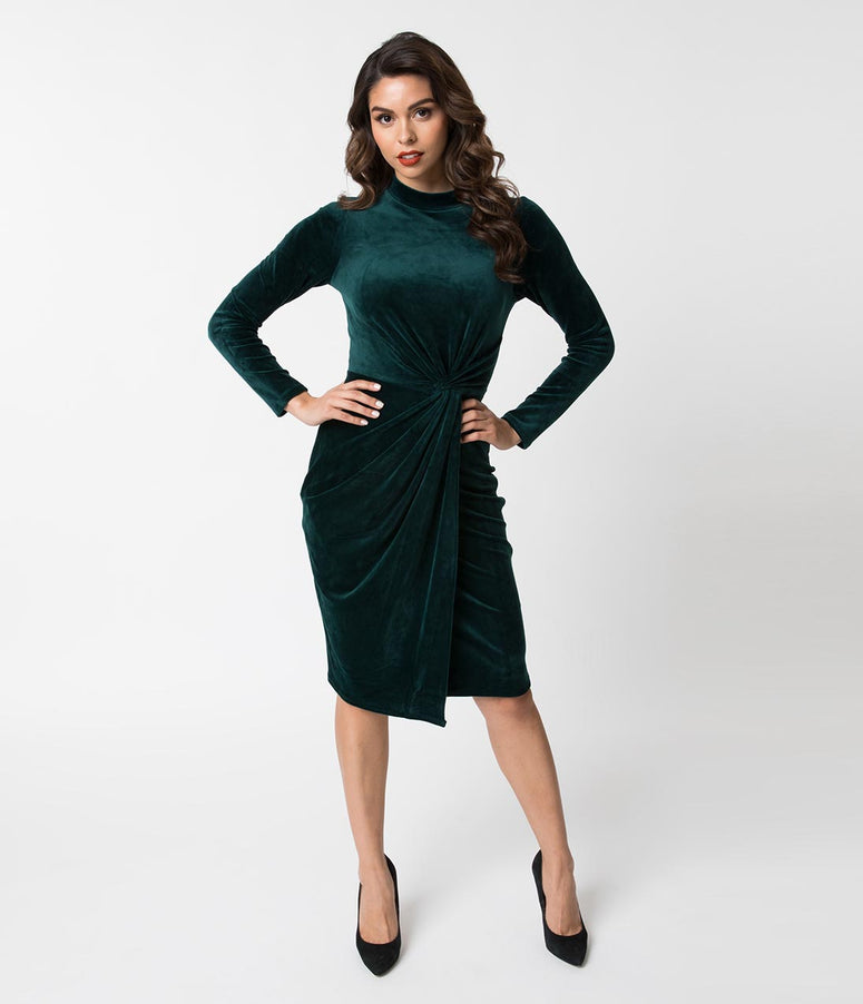 Green Velvet Knotted Long Sleeve Wiggle Holiday Dress