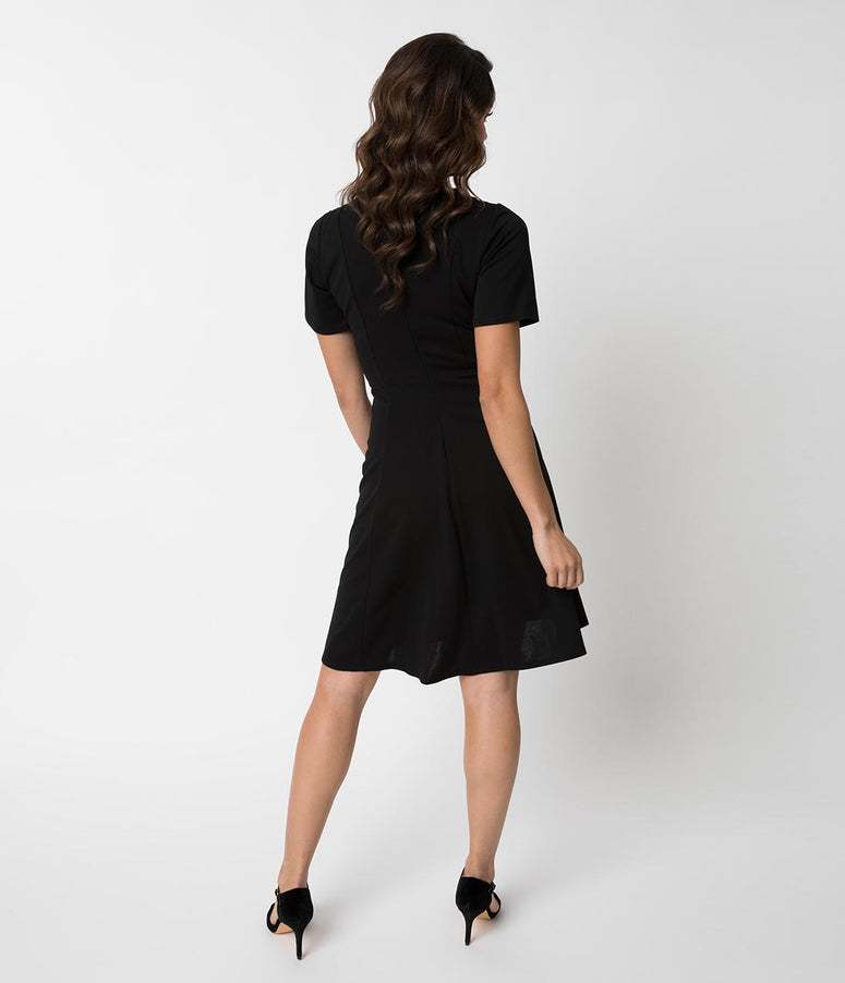 62af07337e2d Retro Style Black Knit Sleeved Fit and Flare Dress. Quick View