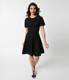 Retro Style Black Knit Sleeved Fit and Flare Dress