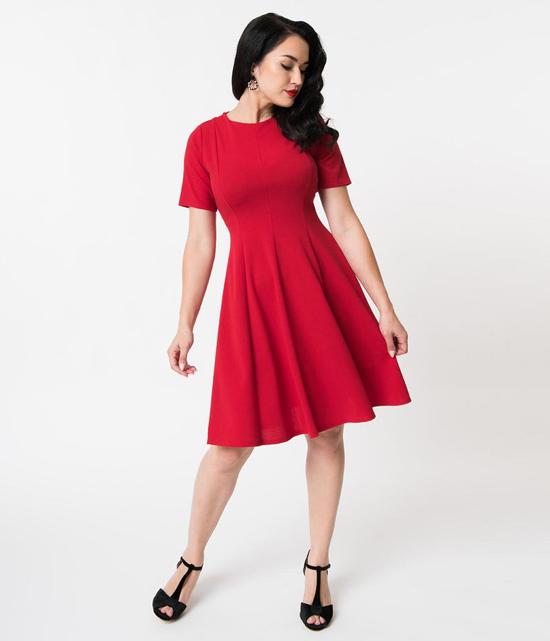 Retro Style Red Knit Sleeved Fit and Flare Dress