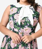 Unique Vintage Plus Size 1960s Style Pink Floral & Large Ivory Bow Tie Marin Flare Dress