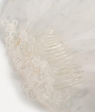 White Embroidered Snowdrop & Swiss Dotted Veil Hair Comb