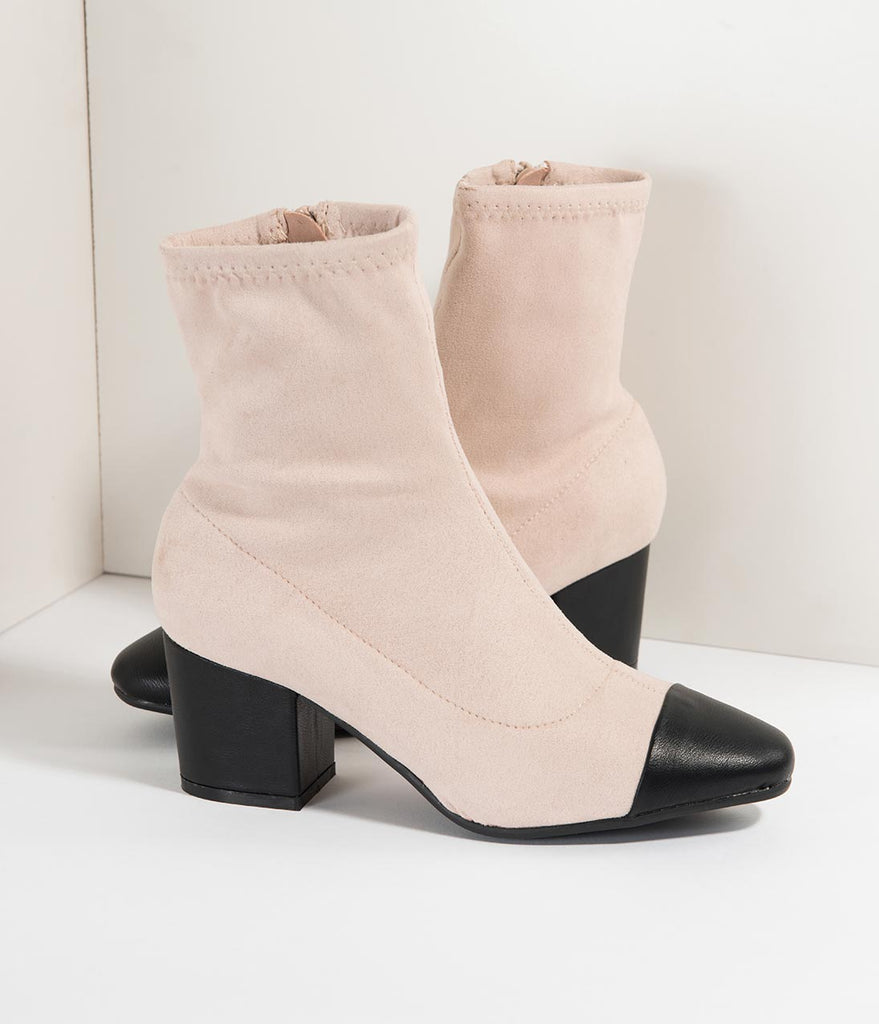 White Suede & Black Leatherette Pointed Toe Heeled Boots