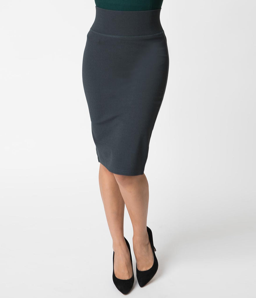 Retro Style Charcoal Grey Stretch Knit High Waist Wiggle Skirt
