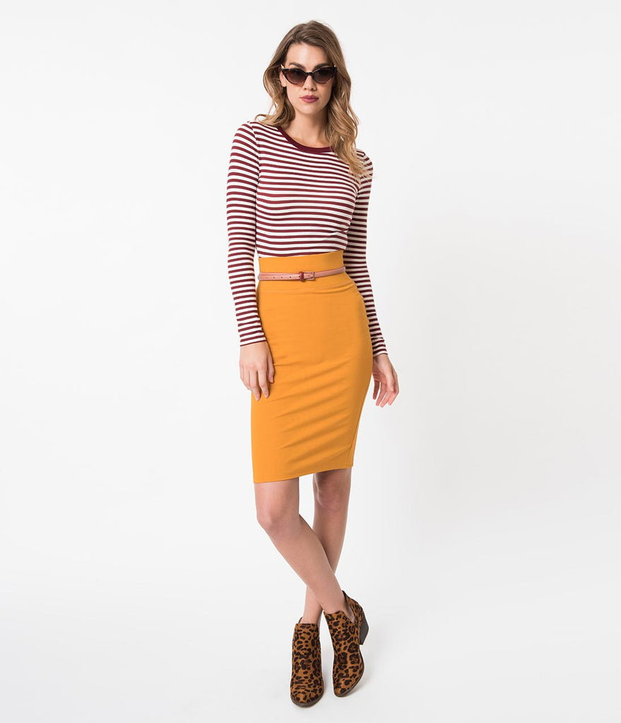 Retro Style Sunflower Yellow Stretch Knit High Waist Wiggle Skirt