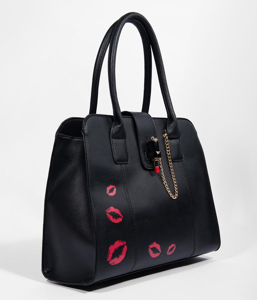 Voodoo Vixen Black Leatherette Lipstick Love Purse