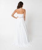 White Strapless Lace Crystal Bridal Dress