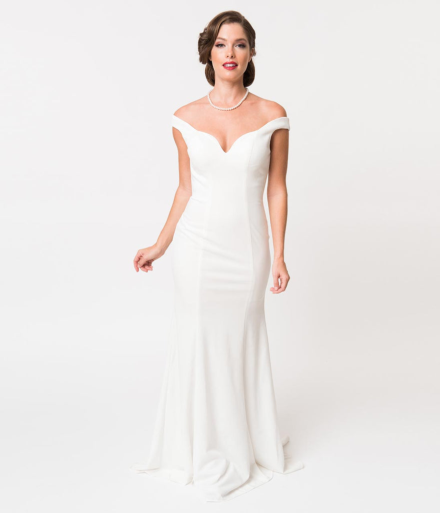 Ivory Off The Shoulder Sexy Fitted Long Gown