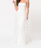 Ivory Strapless Jersey & Lace Overlay Fitted Bridal Gown