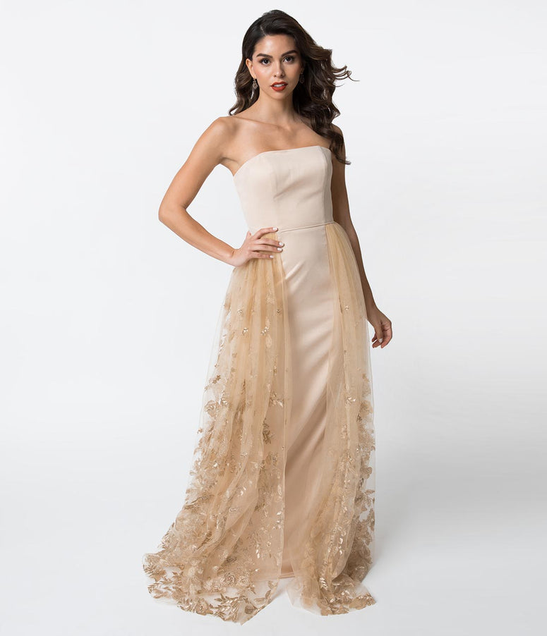 Champagne Strapless Jersey & Lace Overlay Fitted Gown