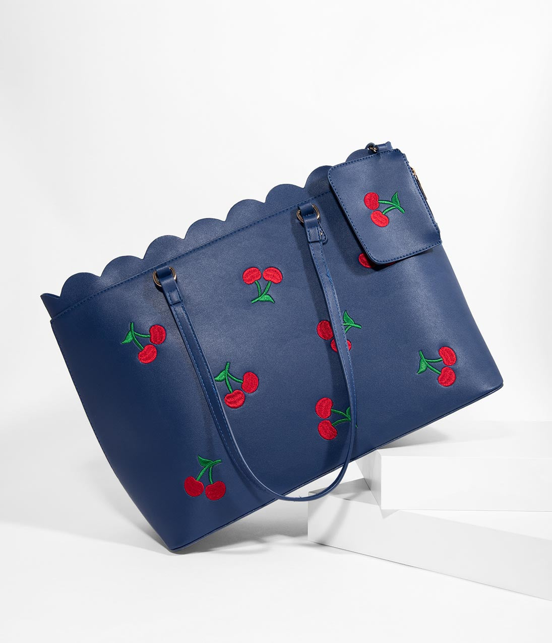 1950s Handbags, Purses, and Evening Bag Styles Voodoo Vixen Blue Leatherette  Red Cherry Carla Scalloped Tote $38.00 AT vintagedancer.com
